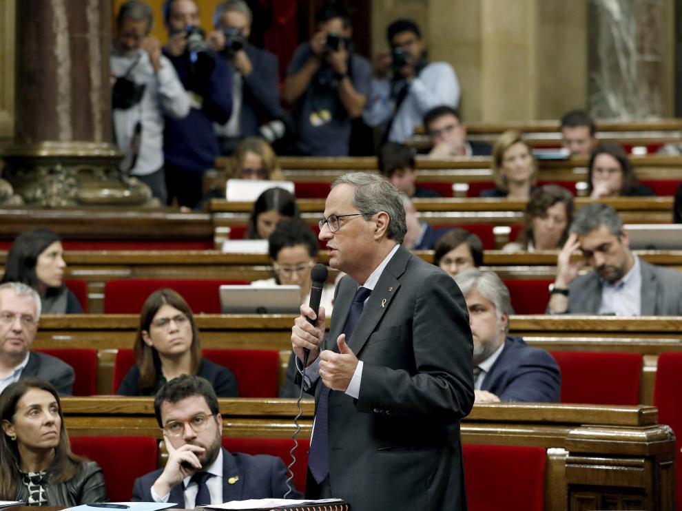 El presidente de la Generalitat, Quim Torra, durante una de sus intervenciones en el pleno de la cámara catalana.