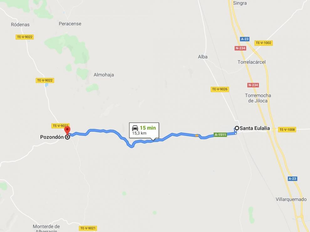 El accidente ha tenido lugar en la carrera que va de Santa Eulalia del Campo a Pozondón.