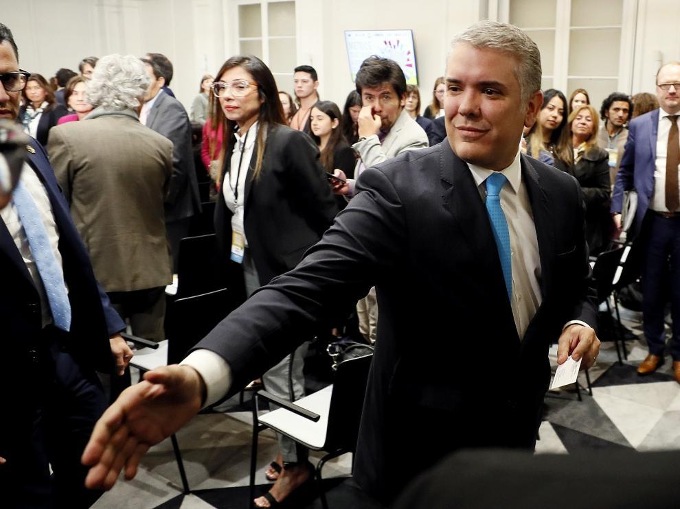 El presidente de Colombia, Iván Duque, ayer en Bogotá.