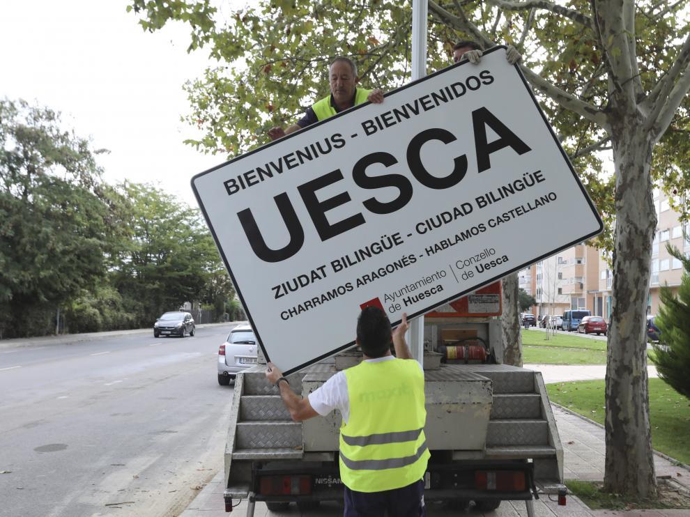 Los letreros se colocaron en las entradas de Huesca hace un año y se retiraron el 1 de octubre.