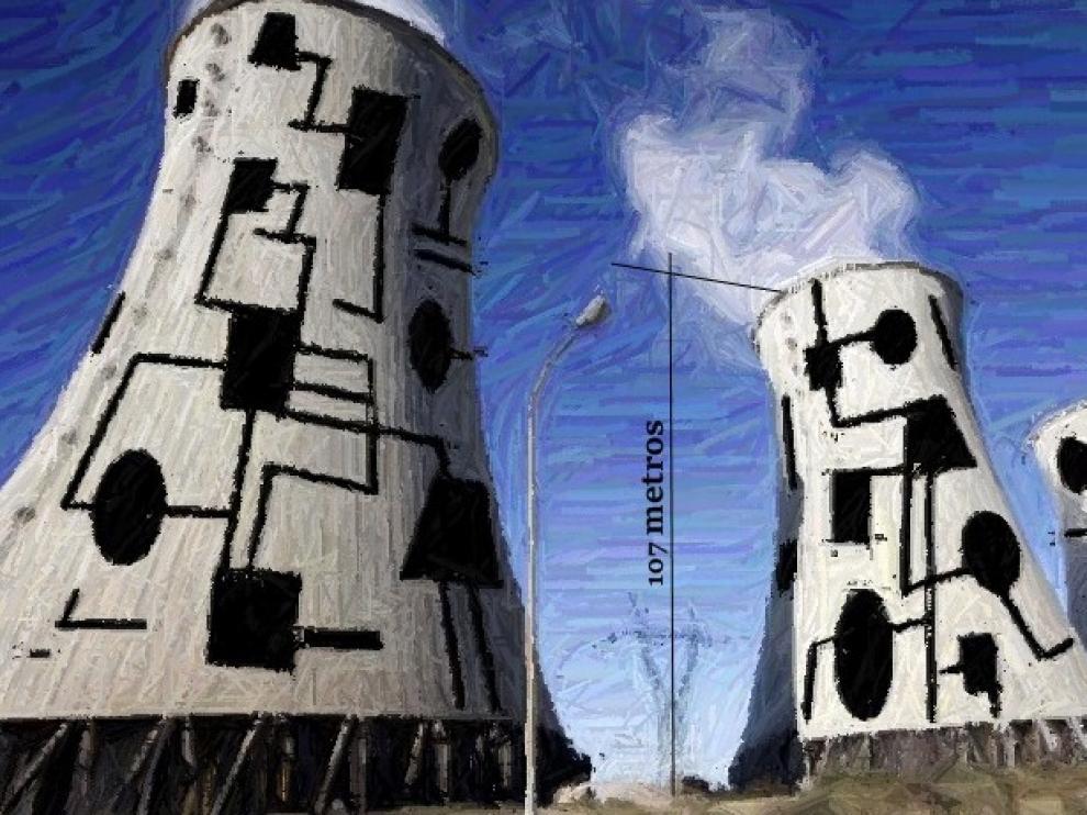 Recreación realizada por Miguel Ángel Arrudi de cómo quedarían las chimeneas de la central térmica de Andorra tras su intervención