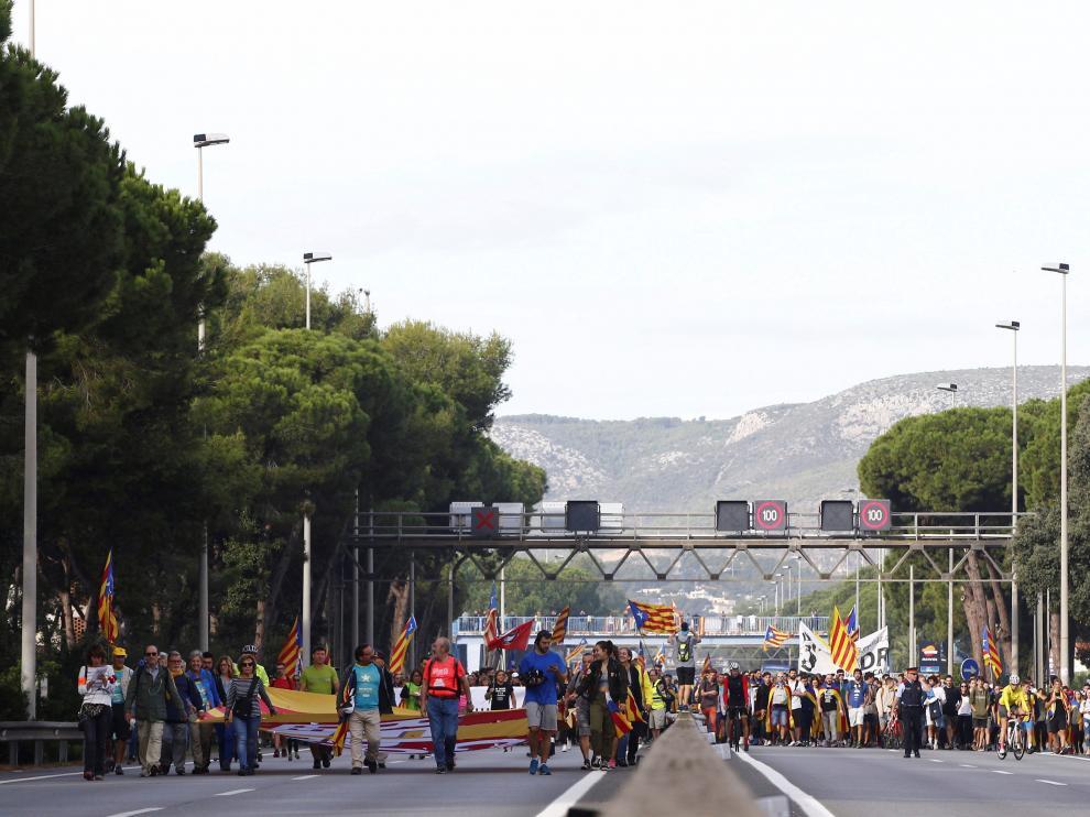 Protesta de los CDR cerca de Casteldefels (Barcelona) el pasado 18 de octubre.
