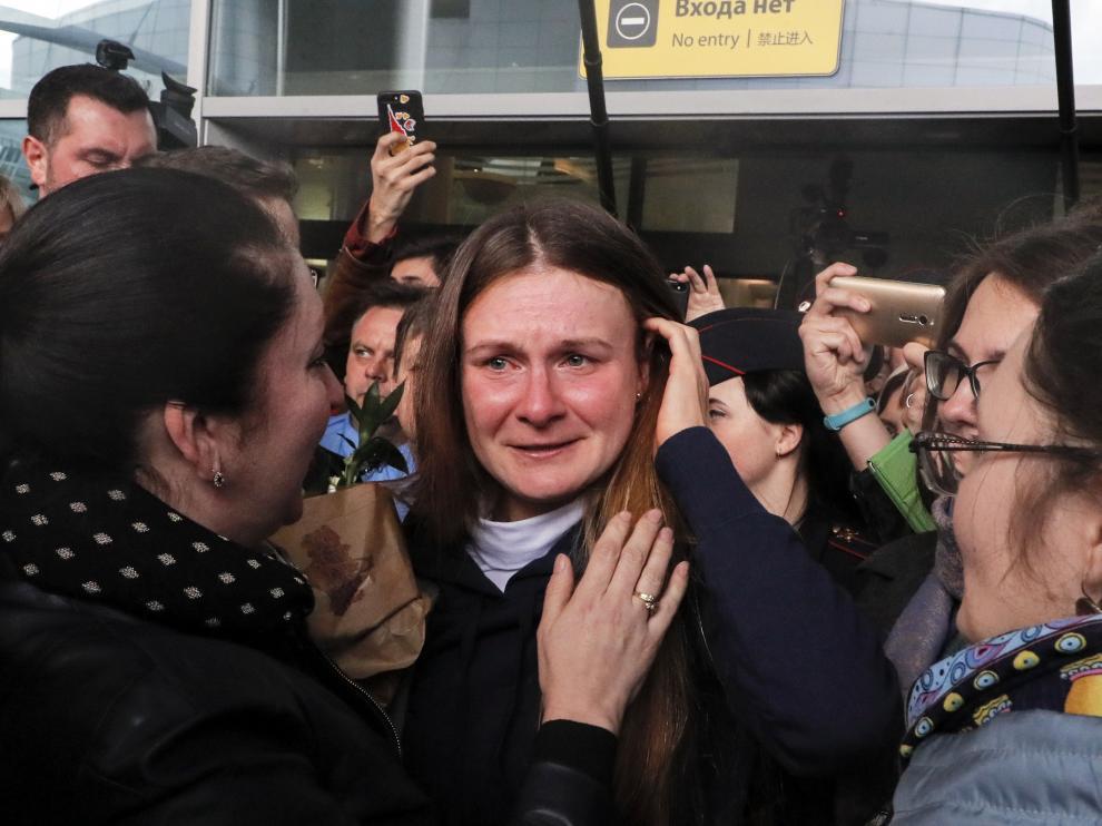 Llegada de la presunta espía rusa en Estados Unidos, María Bútina, a Moscú.