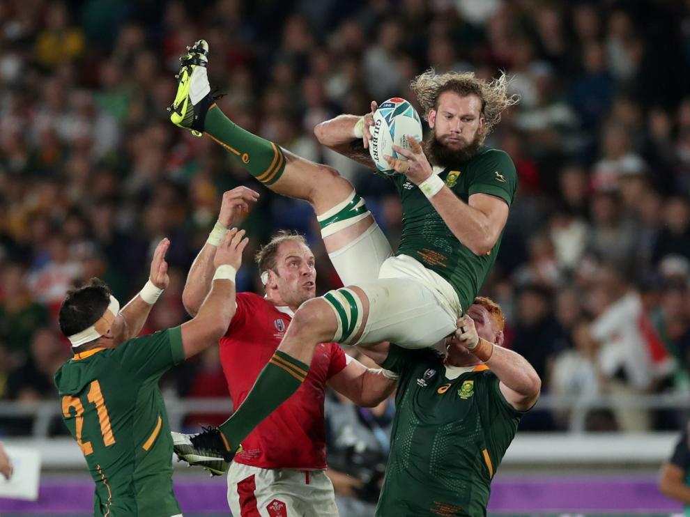 Imagen del partido de este domingo entre Sudáfrica y Gales
