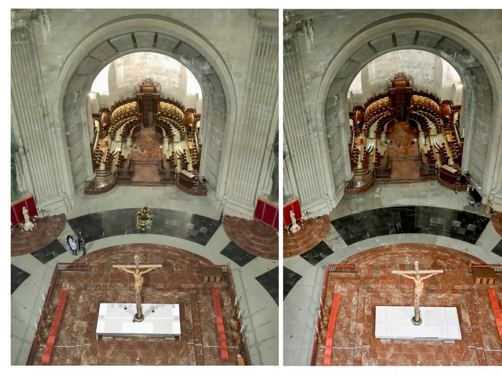 A la derecha, estado actual del espacio a la espera del pulido final de las piedras, y a la izquierda, antes de la exhumación.