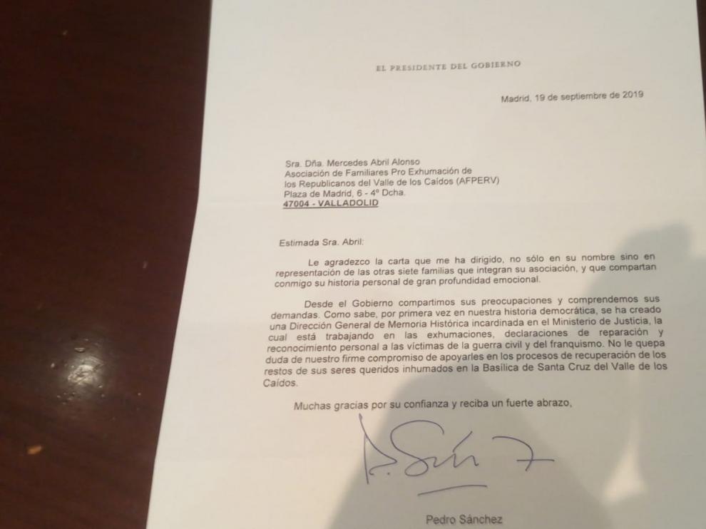 La carta del presidente del Gobierno se remitió el pasado 19 de septiembre, un mes antes de la exhumación de Franco en el Valle de los Caídos.
