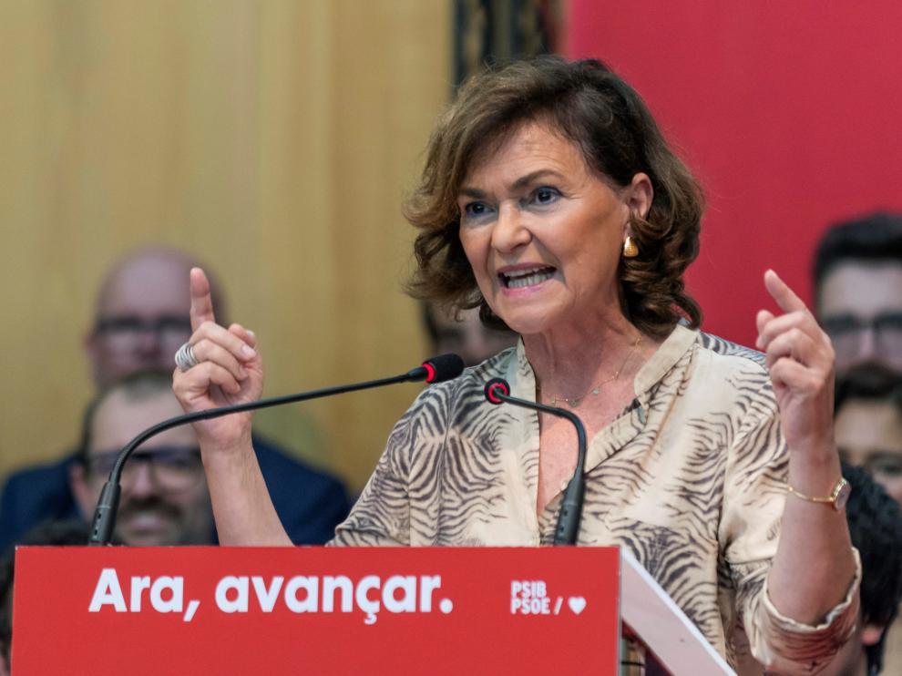 La vicepresidenta del Gobierno en funciones, Carmen Calvo, en un mitin de precampaña en Calviá.