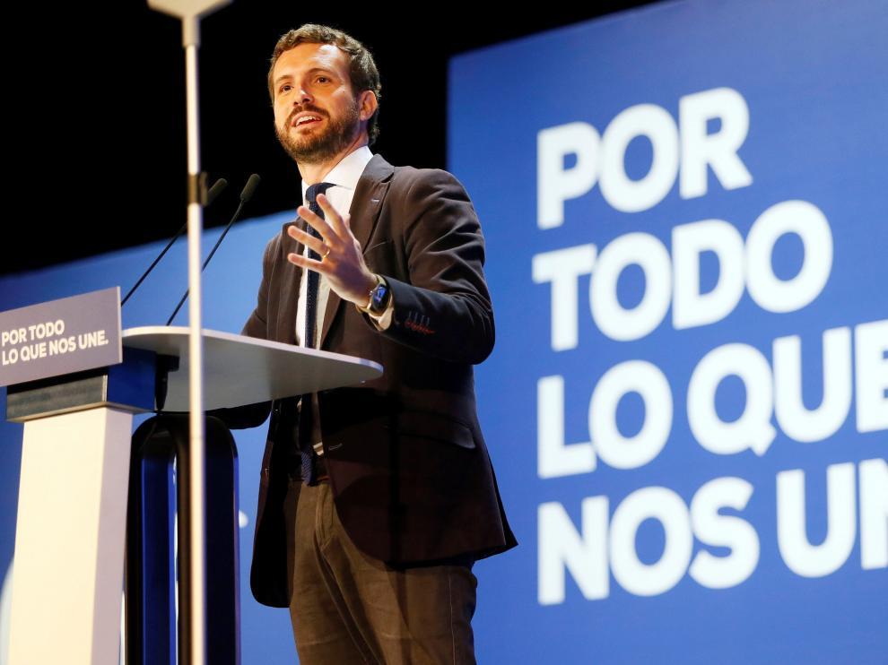 Pablo Casado, el domingo, en un encuentro del PP en San Vicente del Raspeig (Alicante)