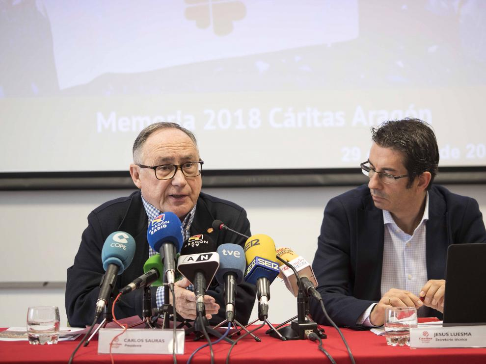 Carlos Sauras y Jesús Luesma durante la presenatción de la Memoria esta mañana