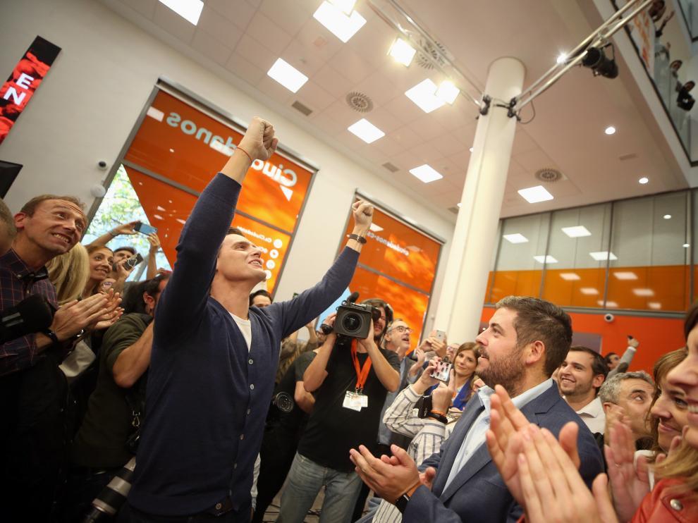 Rivera participa en el acto 'España en marcha' de la formación naranja, el viernes en Madrid.