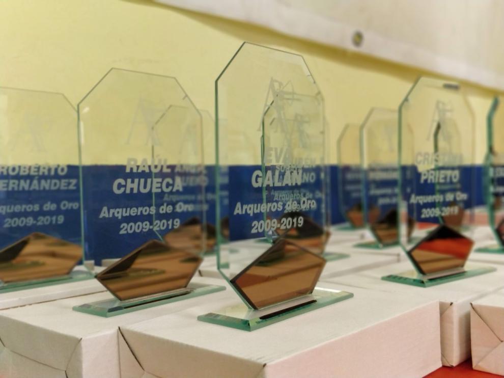 Algunos de los galardondes de los premiados en los Premios Arqueros 2019