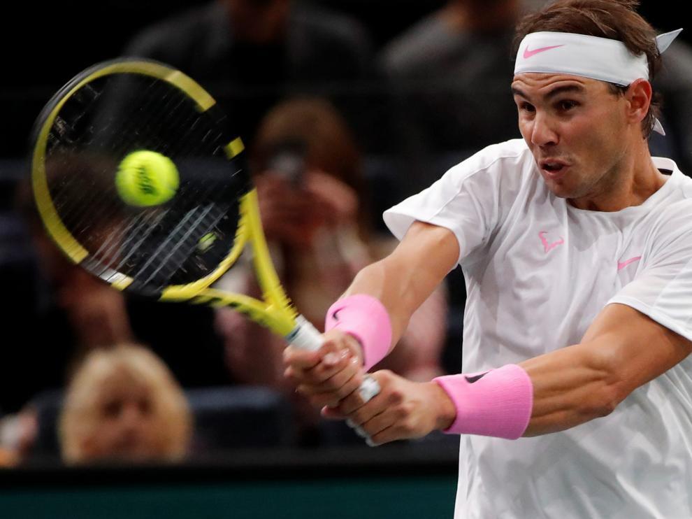 Tennis - ATP 1000 - Paris Masters - AccorHotels Arena, Paris, France - October 30, 2019 Spain's Rafael Nadal in action during his second round match against France's Adrian Mannarino REUTERS/Charles Platiau [[[REUTERS VOCENTO]]] TENNIS-PARIS/