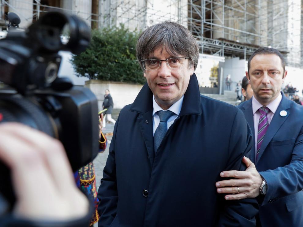 Carles Puigdemont, a su llegada al Palacio de Justicia de Bruselas (Bélgica) esta semana.