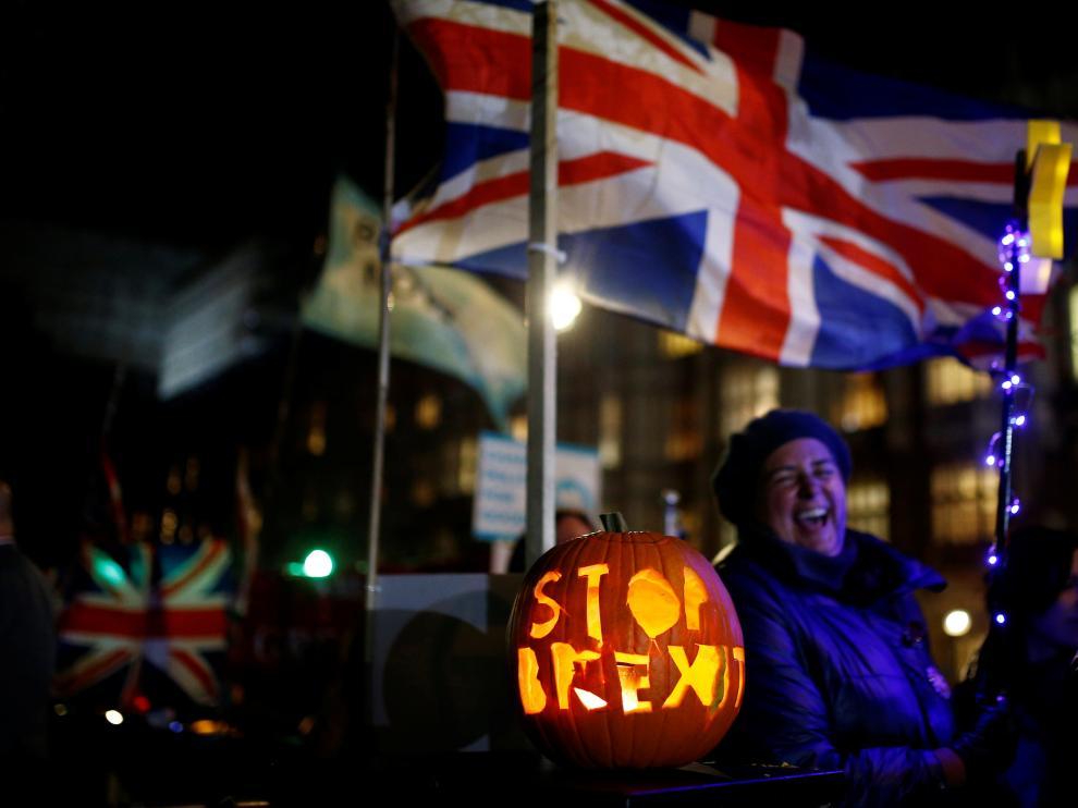 Concentración contra el 'brexit' el martes frente al Parlamento británico.
