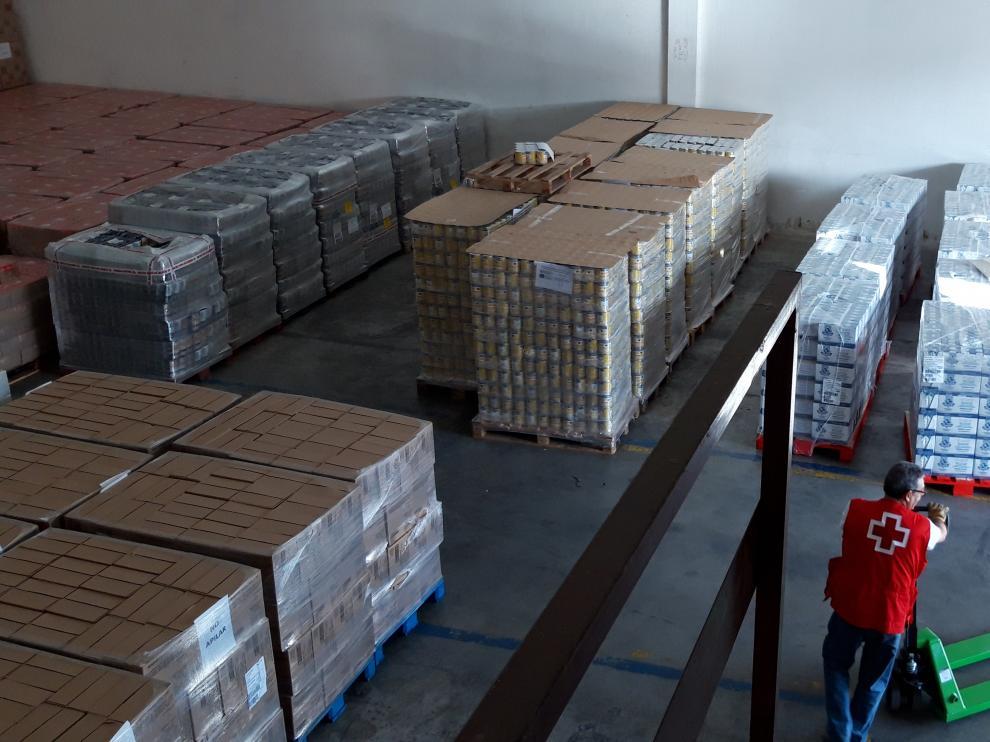 Cruz Roja distribuye 325.409 kilos de alimentos en la provincia de Zaragoza.