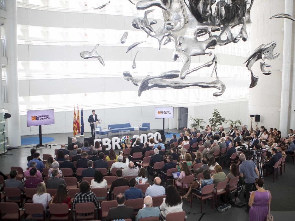 Presentación del Gobierno de Aragón de las líneas maestras del proyecto Ebro 2030 en la Torre del Agua de Zaragoza.
