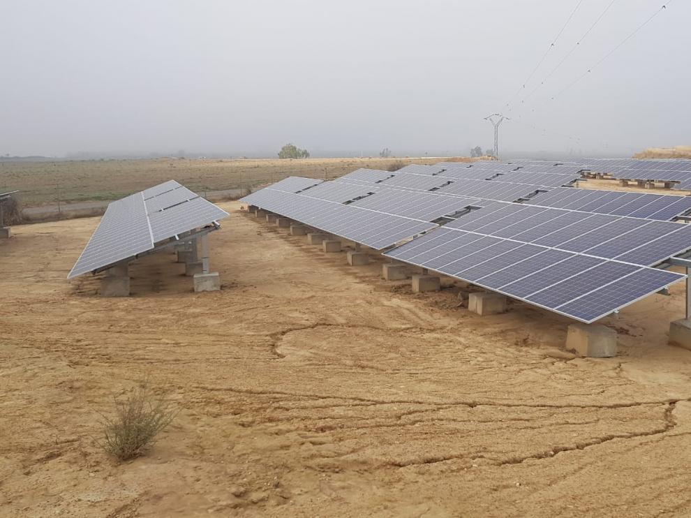 Parque solar que permitirá abaratar el gasto de energía de los regadíos modernizados.