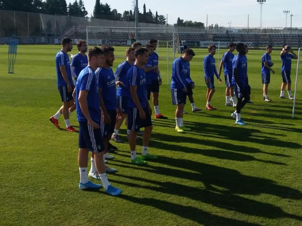 Vigaray, en primer plano del grupo, en la mañana de este miércoles en la Ciudad Deportiva.