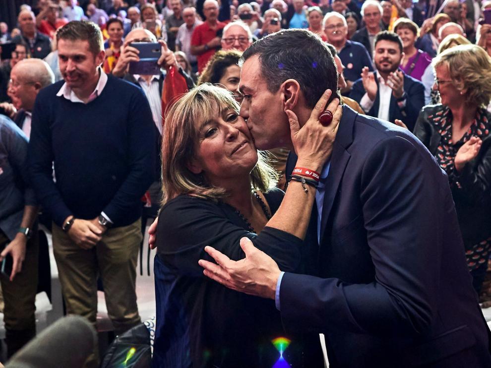 Pedro Sánchez, este miércoles, en un acto preelectoral en Viladecans (Barcelona).