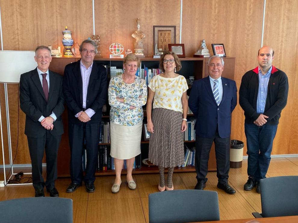 Representantes del Consejo de Colegios de Médicos de Aragón con Pilar Ventura este jueves.