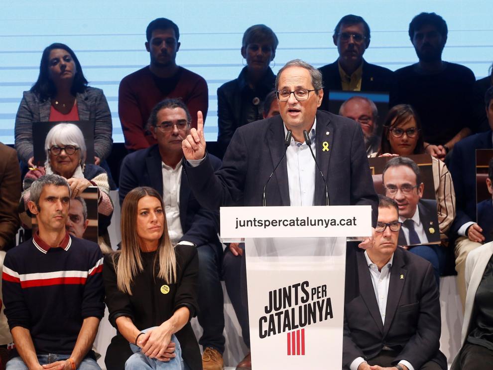 El presidente de la Generalitat, Quim Torra, durante el acto de inicio de campaña.