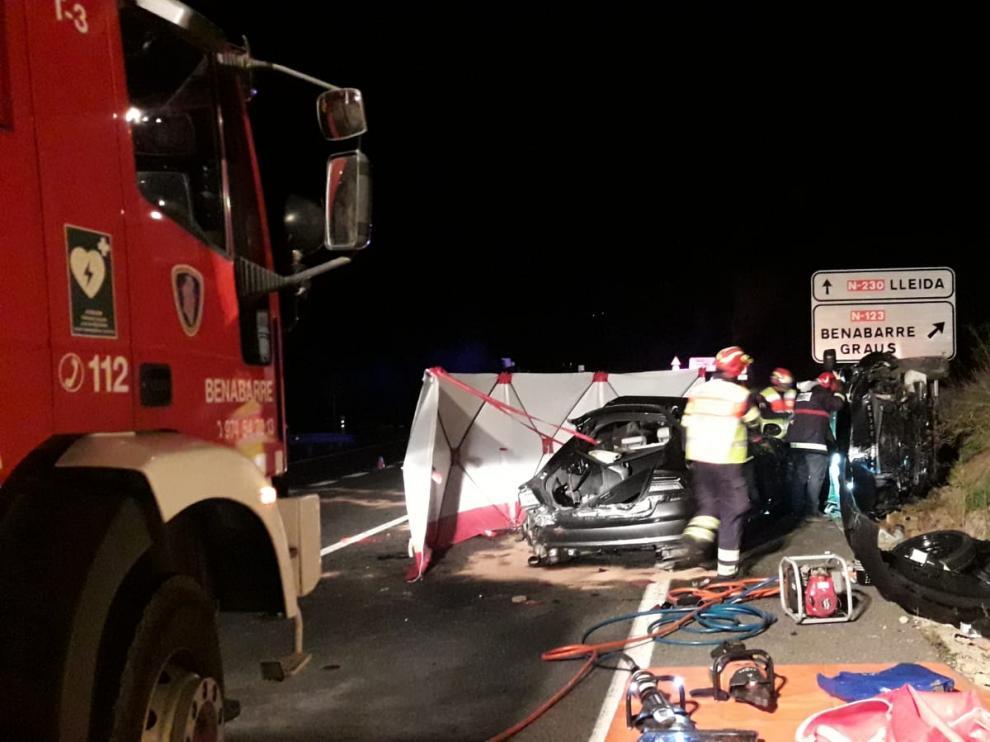 Una imagen del accidente, ocurrido en el kilómetro 64,400 de la N-230, a la altura de Benabarre.