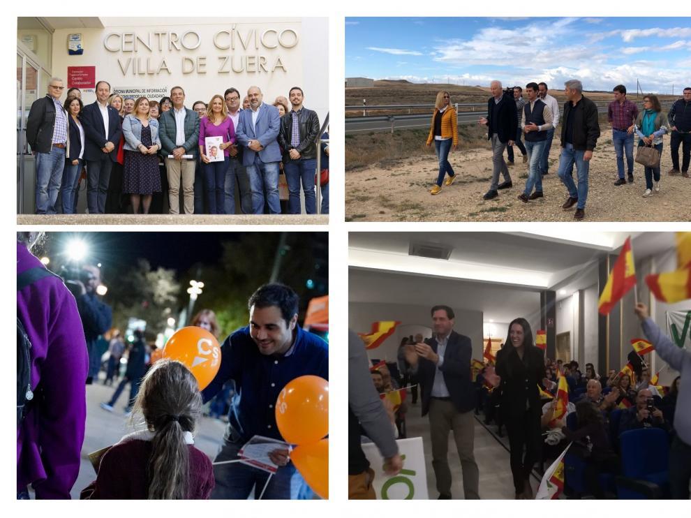 Actos del segundo día de campaña de PSOE, Ciudadanos, PP y Vox en la provincia de Zaragoza