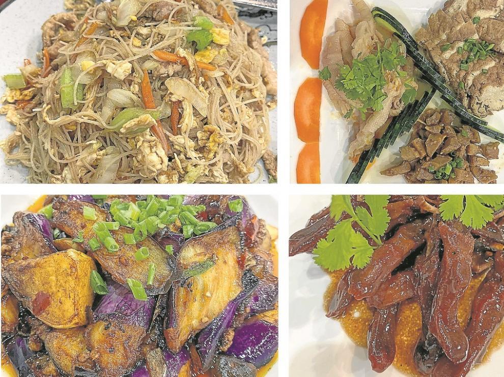 Fideos finos al wok con verdura y carne; tofu, bambú y patas de pollo cartilaginosas; berenjenas chinas y lenguas de pato laqueadas.