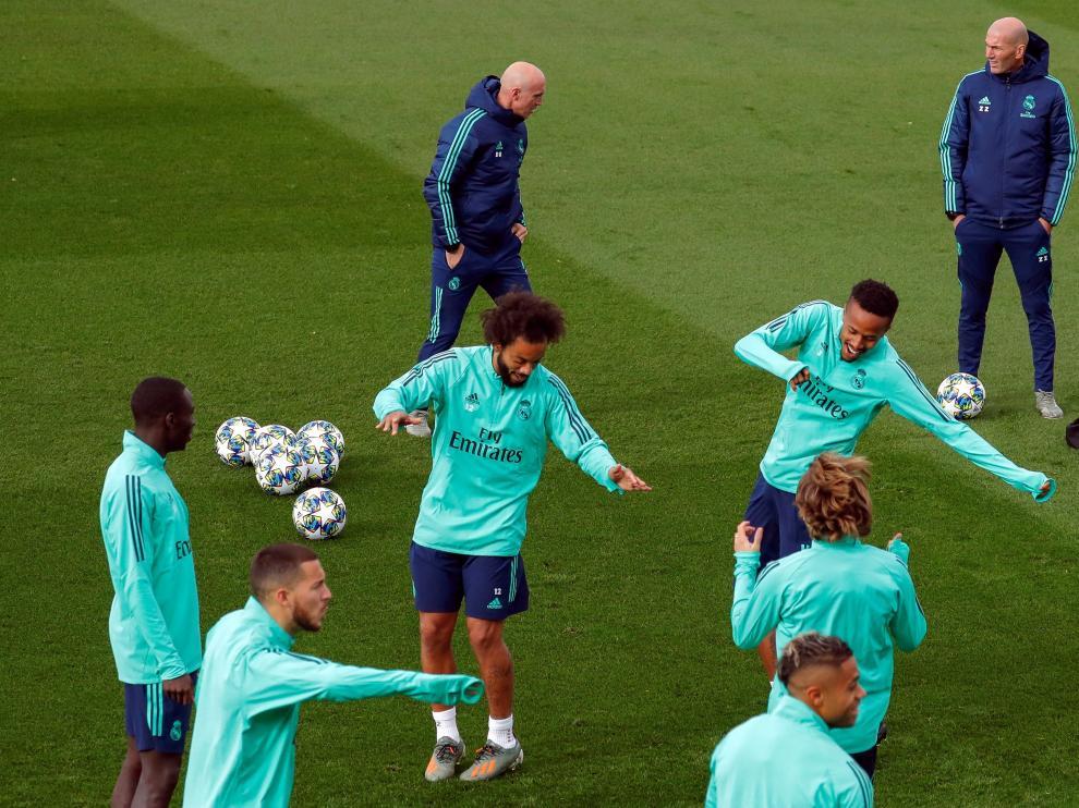 Entrenamiento de este martes del Real Madrid.