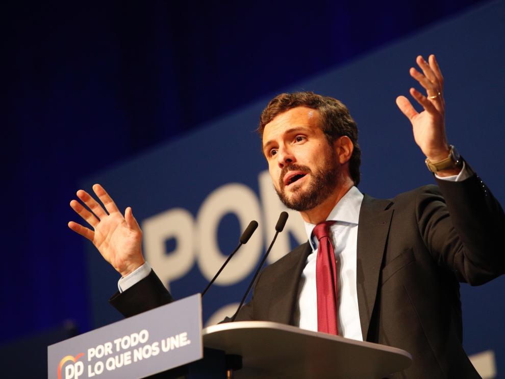 Mitin del candidato del PP Pablo Casado en Zaragoza