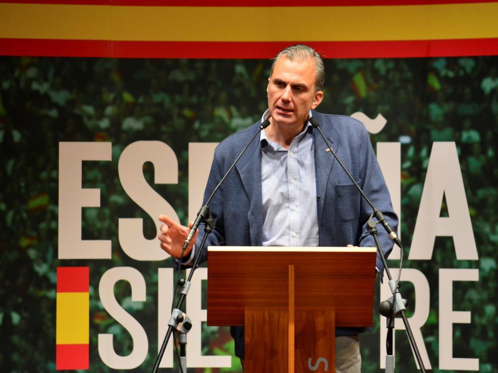 El secretario general de Vox, Javier Ortega Smith, este viernes durante un acto público en Palencia.