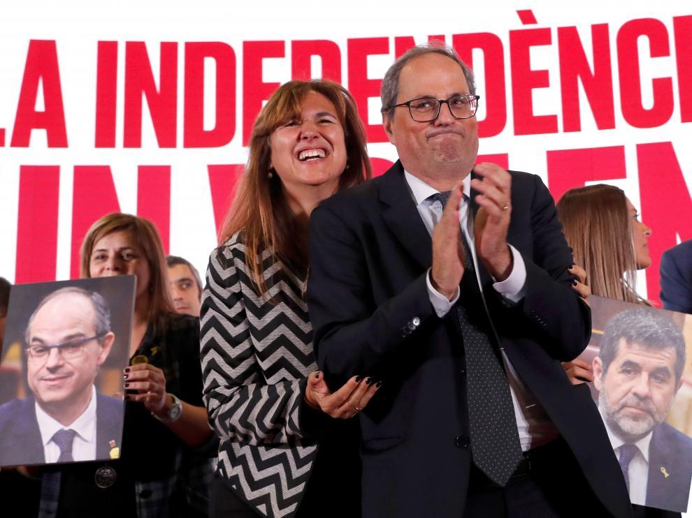 Laura Borras y Quim Torra, en el final de campaña.