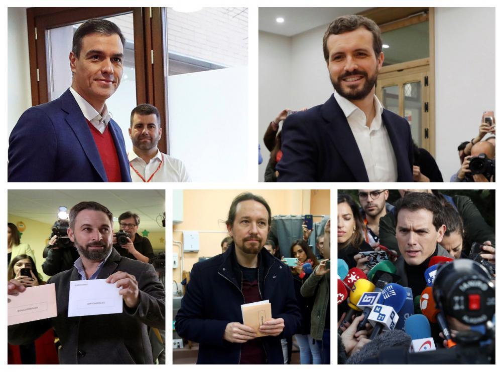 Sánchez, Casado, Abascal, Iglesias y Rivera