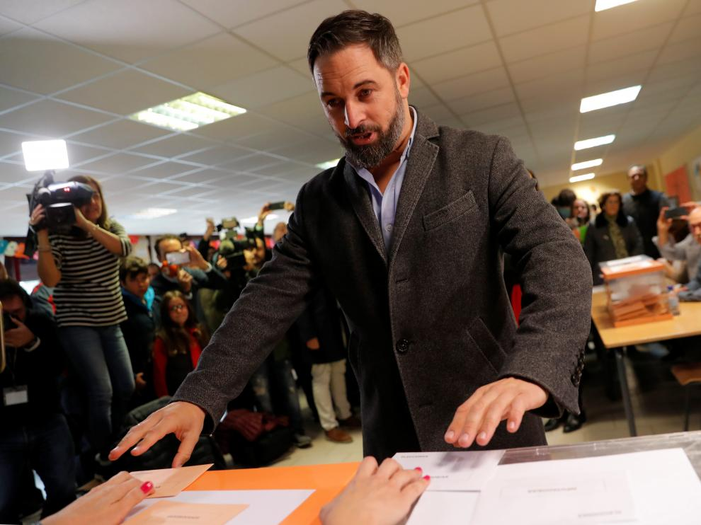 The far-right VOX party leader and candidate Santiago Abascal attends voting during Spain's general election in Madrid, Spain, November 10, 2019. REUTERS/Susana Vera [[[REUTERS VOCENTO]]] SPAIN-ELECTION/ABASCAL