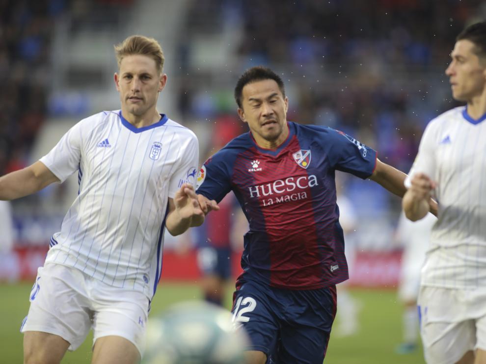 Shinji Okazaki, en el partido con el Oviedo.