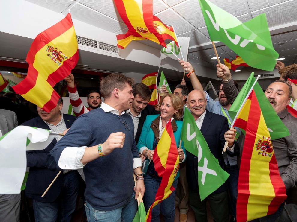 Sede de Vox en Murcia, la noche electoral.