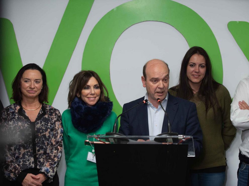 Valoración de los resultados de Vox en su sede de Zaragoza.
