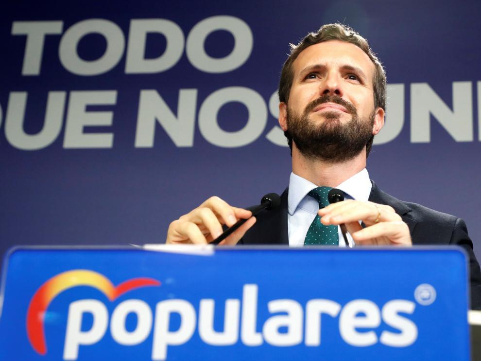 Pablo Casado, en la rueda de prensa de este martes.