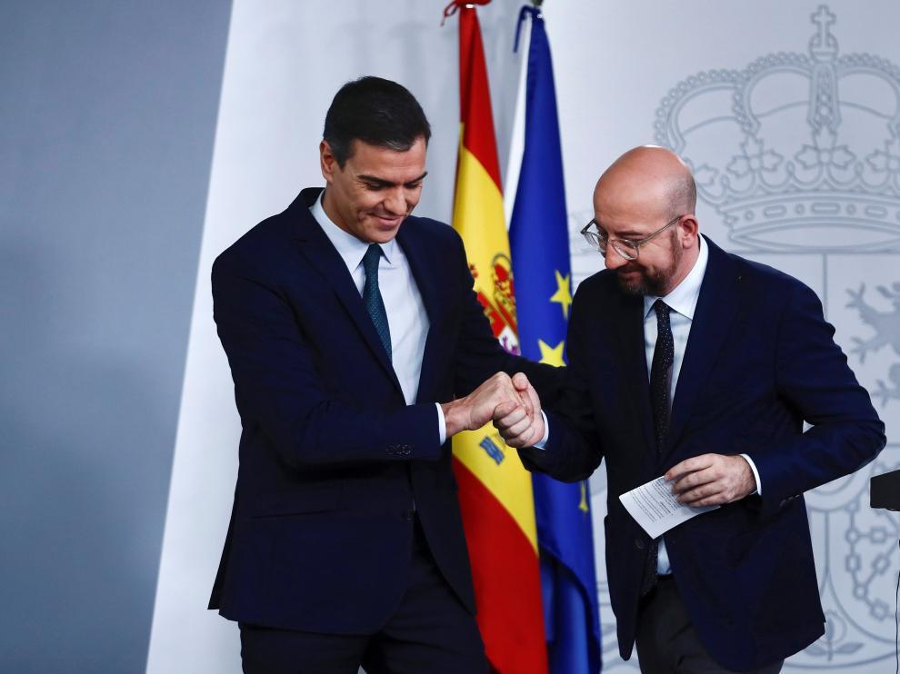 Pedro Sánchez y el presidente electo del Consejo Europeo, Charles Michel, se han reunido este jueves en La Moncloa