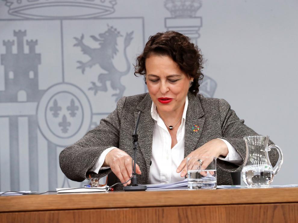 La ministra de Trabajo en funciones, Magdalena Valerio, en rueda de prensa este viernes.