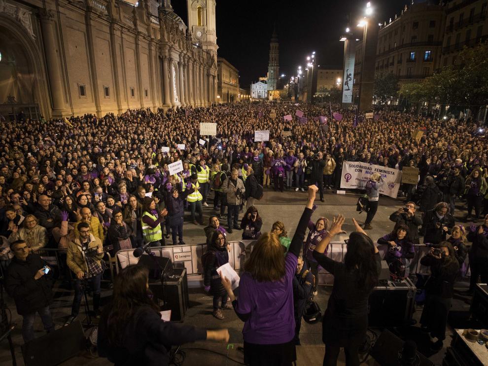 Imagen de archivo de la manifestación del pasado 8 de marzo, Día de la Mujer Trabajadora, en Zaragoza.