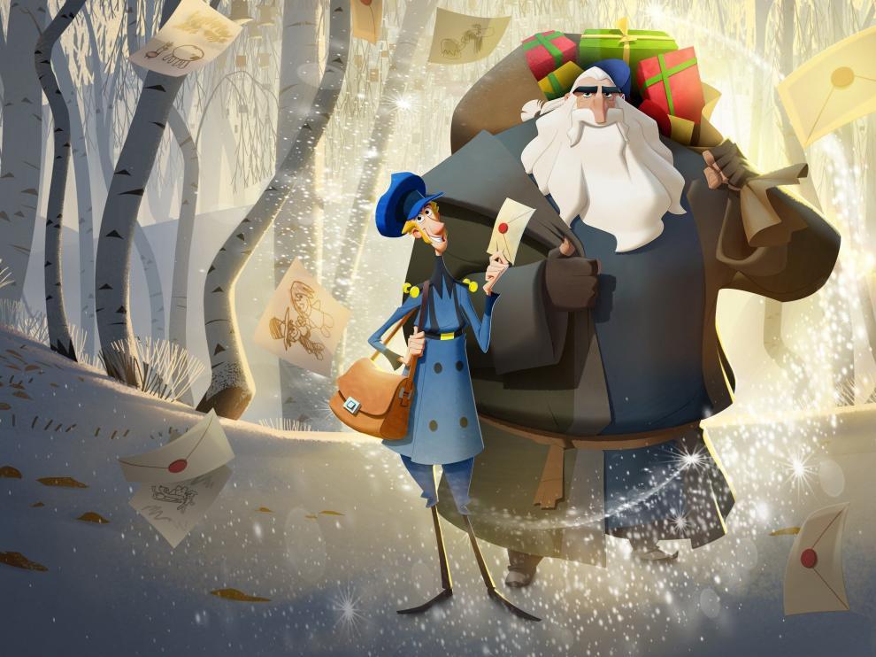 Dos de los personajes, Jesper y Klaus, durante una escena de la cinta de animación 'Klaus'.