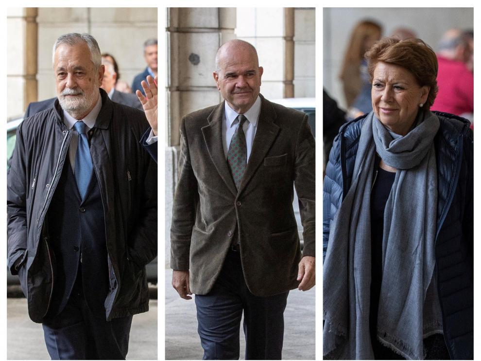 José Antonio Grinán, Manuel Chaves y Magdalena Álvarez a su llegada a la Audiencia de Sevilla