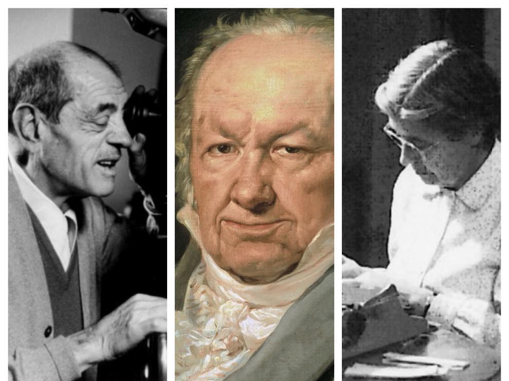 Los aragoneses Luis Buñuel, Francisco de Goya y María Moliner.