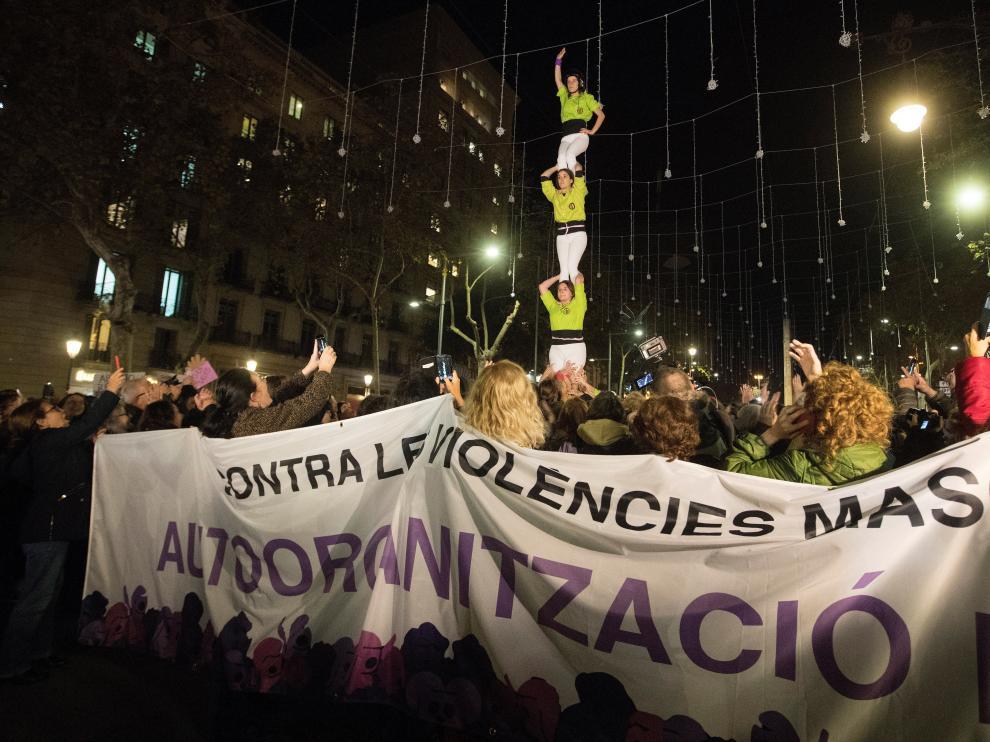 Manifestación contra la violencia de género en Barcelona.