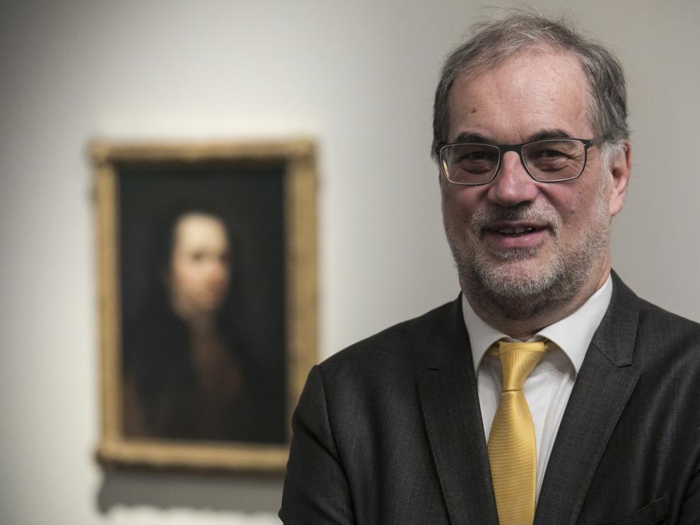 Helmut Jacobs visitó este lunes el Museo Goya de la Fundación Ibercaja