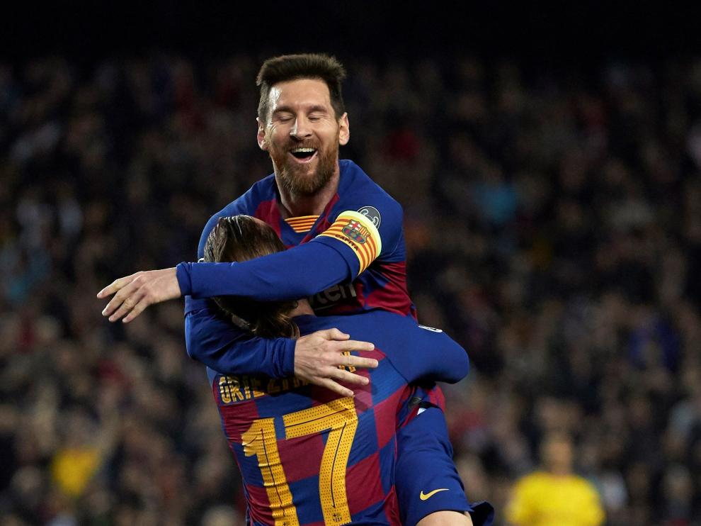 Celebración de uno de los goles del Barça.