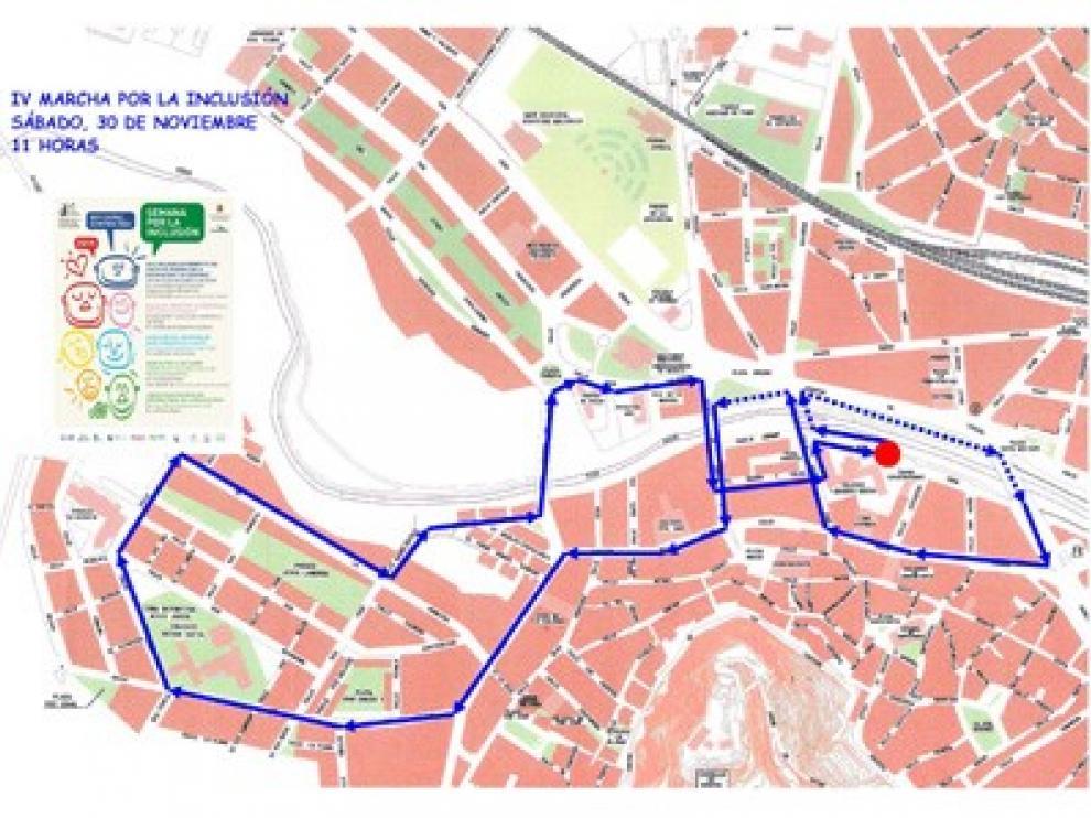 Plano del recorrido que hará la marcha por la inclusión del sábado