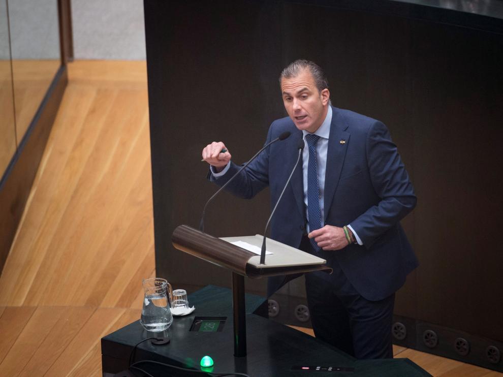 Ortega Smith, en su intervención de este miércoles en el pleno del Ayuntamiento de Madrid.