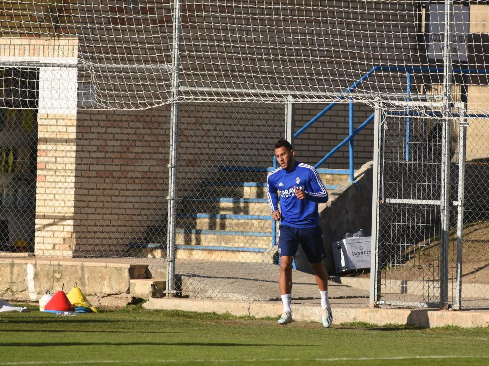 Luis Suárez durante la sesión de entrenamiento de este jueves.